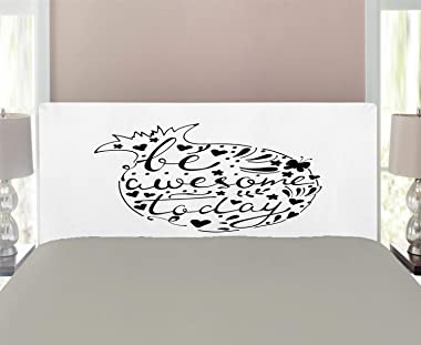 Lunarable Saying Headboard, Doodle Style Pomegranate Fruit Outlined with Text Built-in Design, Upholstered Decorative Metal H