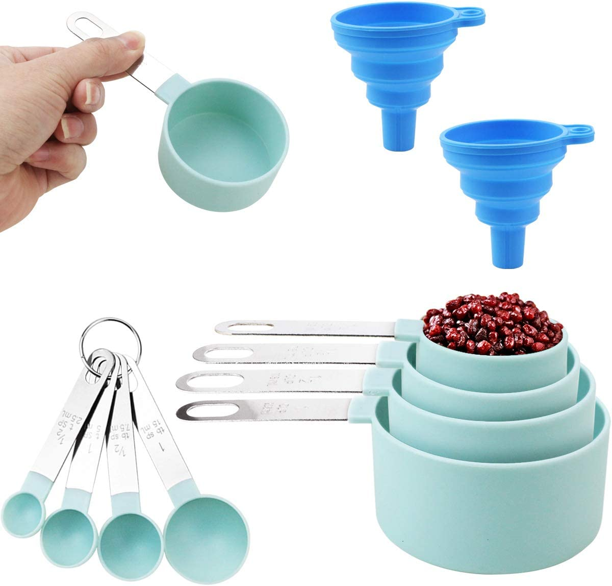 SKPPC 8 Attention brand Pieces Plastic Measuring Cups Spoons Cu Set and Measure Japan Maker New
