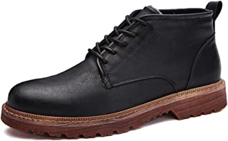 2019 Mens New Lace-up Flats Mens Combat Boots for Men Classic Ankle Shoes Lace Up Style PU Vamp Anti Slip Round Toe Stitched Vegan Soft Outdoor Walking (Fleece Lined Option)