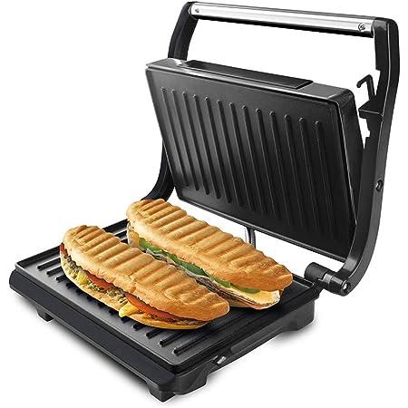 Taurus 968419000 Grill & Toast - Sandwichera con placas grill antiadherentes, 700 W, tapa basculante, gancho fijo de cierre, bandeja recoge grasas, color negro