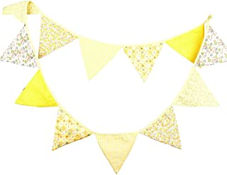 G2PLUS 3.3 Meters / 10.8 Feet Triangle Pennant Flags Vintage Bunting Floral Cotton Banner Kit Pennant Garland for Wedding,Festivals,Nursery,Outdoor Pennant Hanging Decoration (Yellow)