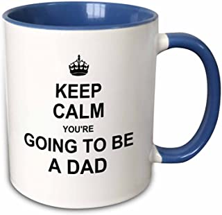 3dRose 194458_6 Keep Calm You're Going To Be A Dad - Future Father Daddy Text Gift Two Tone Blue Mug, 11 oz,