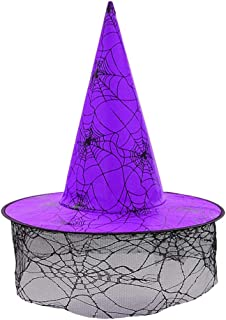 Purple Modern Wicked Lace Witch Brim Hat for Women Kids Halloween Masquerade Circus Carnival Party Cosplay Costume Supplies Decorations