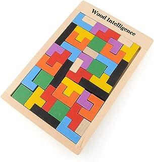 Wooden Toys Brain Game,Awakingdemi 40-Piece Wooden Tangram Brain Teaser Puzzle Toys Tetris Game Educational Kid Toy