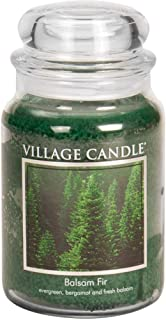 Village Candle Balsam Fir Large Glass Apothecary Jar Scented Candle, (26 oz), Green