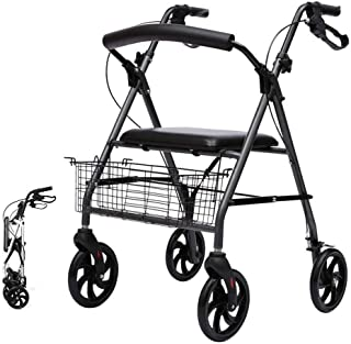 Walker For Seniors Rollator Foldable Walkers With Brake, Heavy Duty Seniors Rollator With Seat, Basket And 6 Inch Wheels, ...