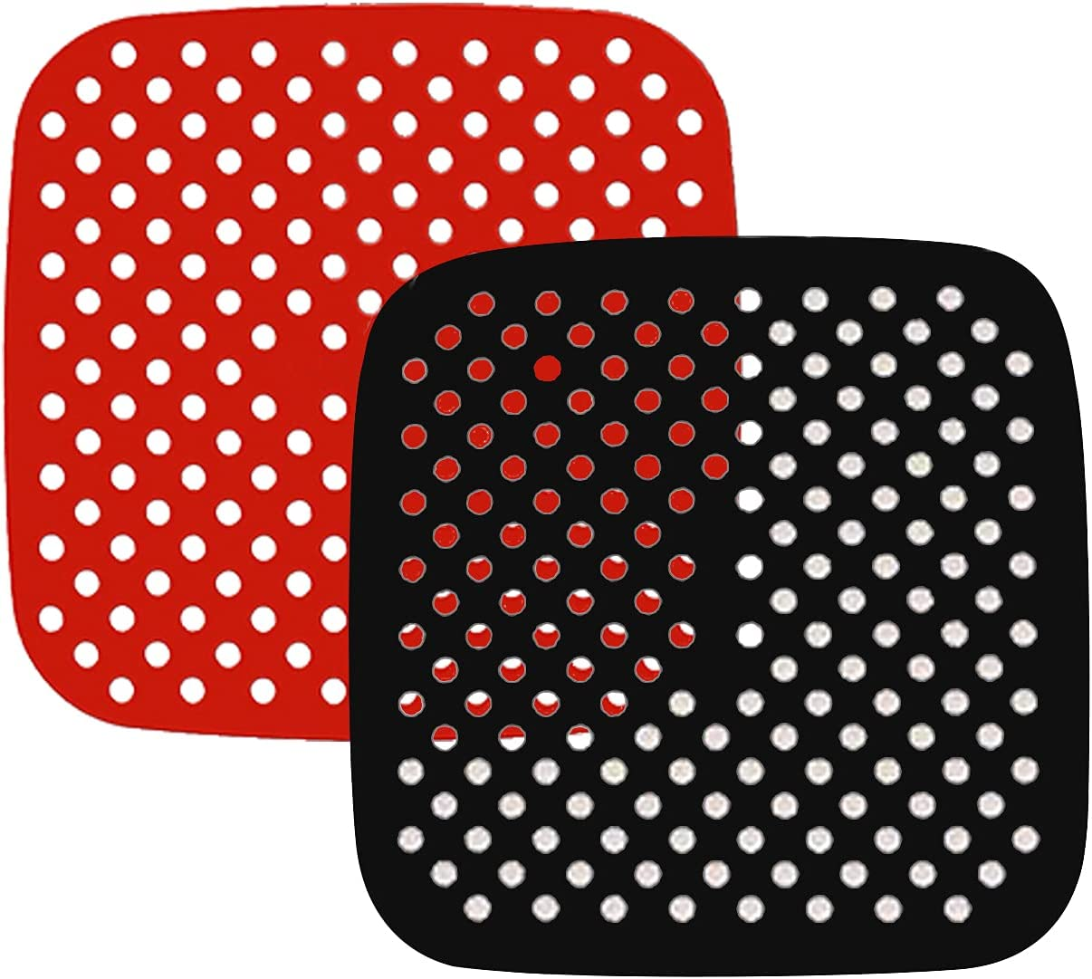 ZEPELOFFY 2 Pack 8.5 Inch Square Air Fryer Liners, Reusable Food-Grade Silicone Mat, Non-stick Heat Resistant Air Fryer Accessories
