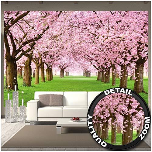 GREAT ART Mural de Pared – Árbol De Cerezo En Flor – Primavera Naturaleza Paisaje Avenida Flor De Cerezo Flor De Sakura Primavera Foto Tapiz Y Decoración 336 x 238 cm