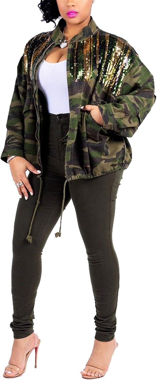 Antique Style Womens Street Fashion Sequins Camouflage Printed Coat Safari Jacket Windbreaker