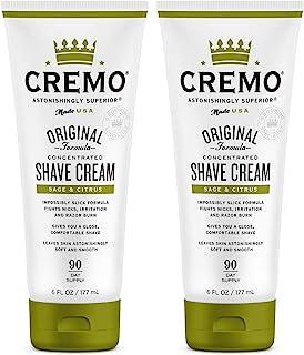 Cremo Barber Grade Sage & Citrus Shave Cream, Astonishingly Superior Ultra-Slick Shaving Cream Fights Nicks, Cuts and Razor Burn, 6 Oz (2-Pack)