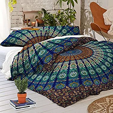 Sophia Art Exclusive Peacock Mandala Duvet Cover with Pillowcases Mandala Doona Cover, Donna Cover Indian Dovet Set (Blue, California King)