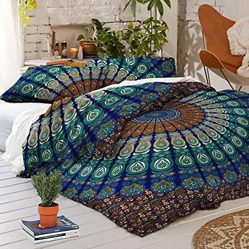 Sophia Art Twin Mandala Housse de Couette avec 2 taies d'oreiller, Bohemian Doona Lot, Indien réversible avec Housse de Couette (Bleu)