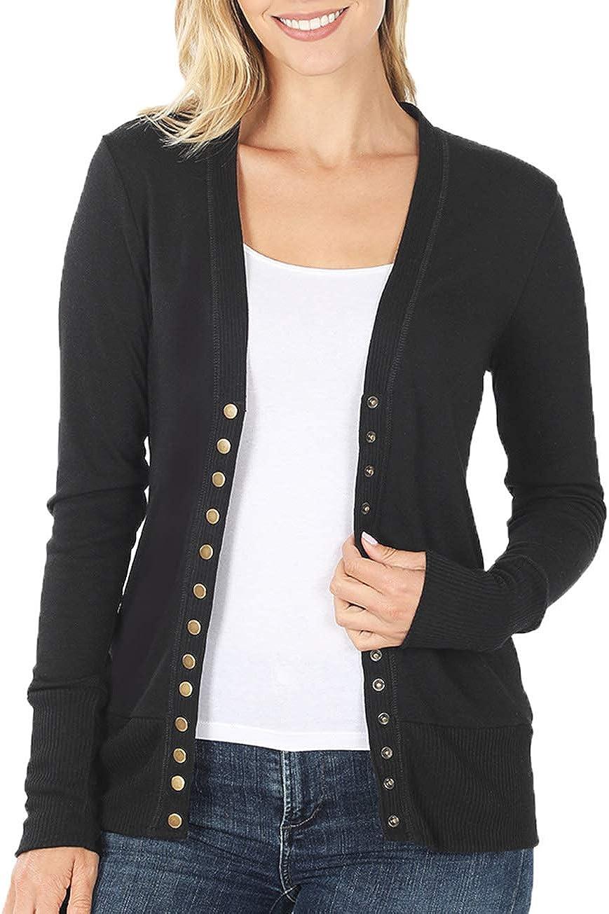Women V Neck Snap Button Long Sleeve Sweater Cardigan