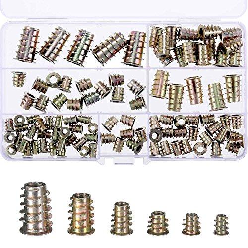 100 Stücke M4/ M5/ M6/ M8/ M10 Zink Legierung Möbel Innensechskant Schraube Einsätze Gewindeeinsatz Muttern Sortiment Werkzeug Kit für Holz Möbel (6 Größe)
