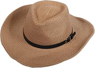 AINIYF Big Eaves Sun Hat Summer Outdoor Climbing Fishing Straw Hat UV Protection Beach Cap with Adjustable Chin Band (Color : Brown)