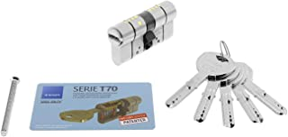 Tesa Assa Abloy Cilindro de Alta Seguridad, Llave - Leva Larga, Niquelado, 30x30 mm