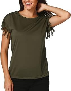 haoricu Women Blouse, Fashion Women Ladies Summer Loose Sexy Tassel Top Short Sleeve Blouse Casual Tops T-Shirt