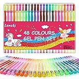 Lenski Geschenke für Mädchen-48 Stück Gelstifte Gelschreiber Set Glitzerstifte Malset Mädchen Zeichnen Adventskalender Mädchen 2020 Adventskalender zum Befüllen, Teenager Mädchen Geschenke 8-12 Jahre