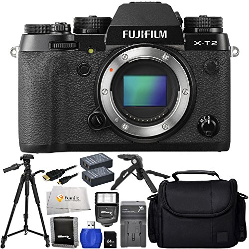 """Fujifilm X-T2 (Body Only) - International Version (No Warranty) + 32GB SD Memory Card + 72"""" Tripod + Pistol Grip Tripod + 2 Extended Life Replacement Battery (NP-W126) + Medium Carrying Case & More!"""
