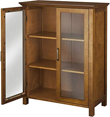 EFD Oak Buffet Cabinet Two Glass Doors Adjustable Shelves Classic Minimalist Small Wooden Display Sideboard Dining