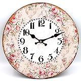 Wanduhr aus Holz ~ Vintage Rosen ~ 28,5cm ~ runde Uhr zum Hängen
