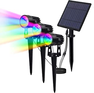 T-SUN Solar RGB Spotlights, 3W LED Solar Lights with 3 Headlights Spotlights, Waterproof Color Changing Landscape Lights Outdoor Security Wall Lights for Garden, Yard, Driveway, Pool Area(RGB)