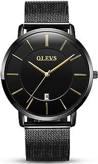 Men Women Watches 6.5mm Ultra Thin Minimalist Quartz Watch Black Brown Leather Strap Rose Gold Mesh Band Business Casual Slim WristWatches Gift