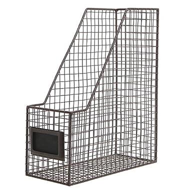 Brown Mesh Wire Metal Magazine Rack/Mail Holder/Document File Folder Storage Basket w/Label Holder