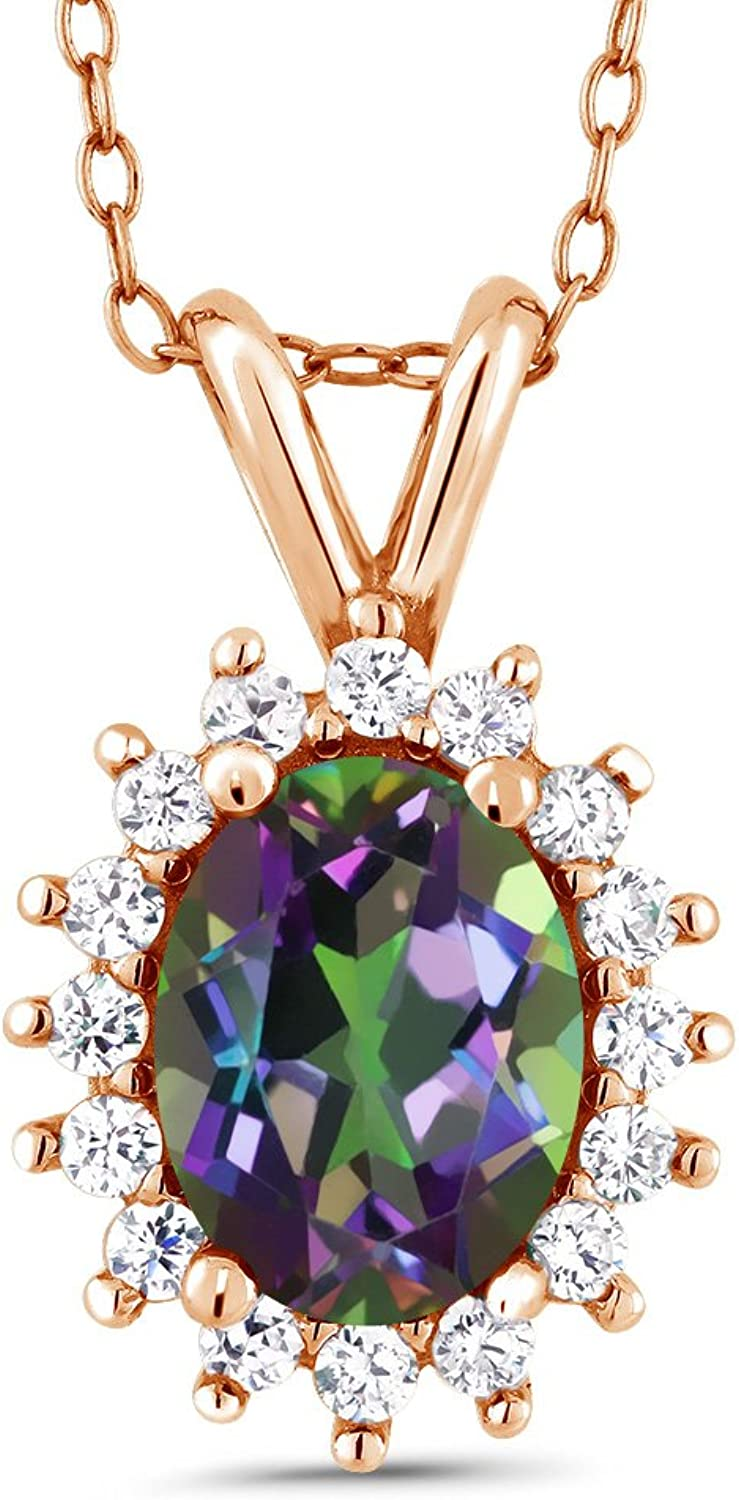 Oval Green Mystic Topaz 18K pink gold Plated Silver Pendant 1.54 Cttw With 18 Inch Chain