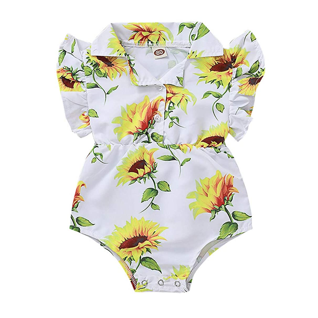 Shusuen Toddler Baby Girl Clothes Sunflower Print Romper Shorts Jumpsuit
