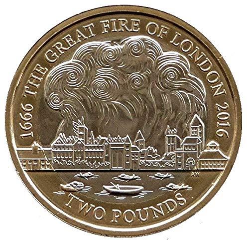 Moneda a prueba del 350 aniversario del Gran Fuego de Londres – 2 libras con soporte para cápsulas Airtite en una bolsa