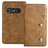 TienJueShi Brown Flip Retro TPU Silicone Genuine Leather