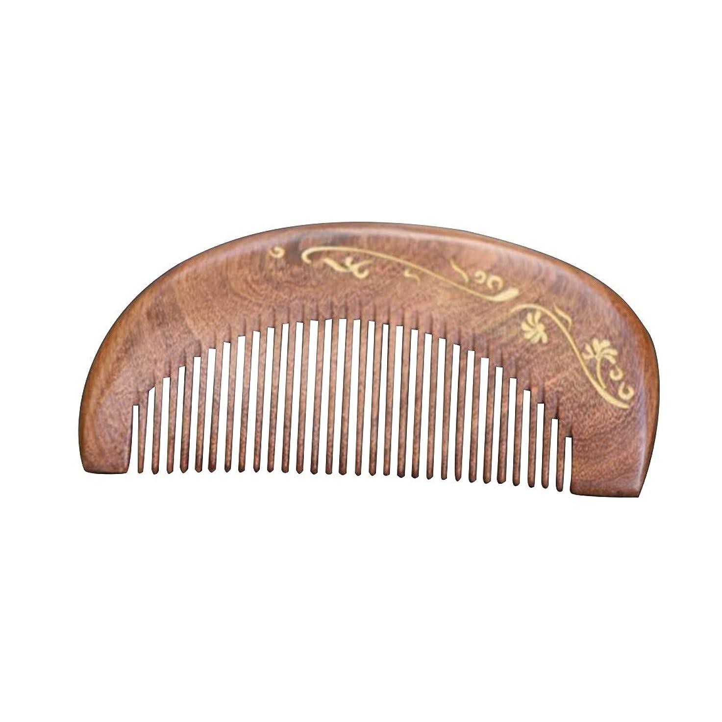 見せます植生明るい白檀の毛の櫛 - 様々なスタイルはギフト用の箱と、頭髪のための密な歯の櫛の帯電防止ヘアブラシを握り ヘアケア (Design : A)