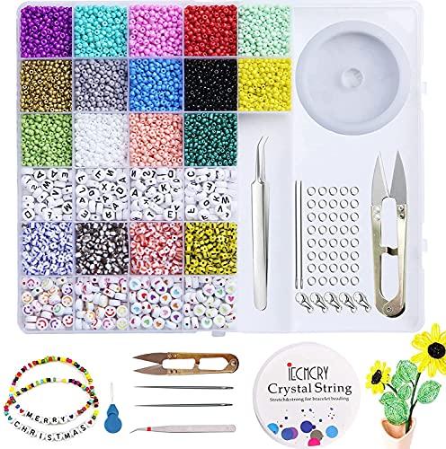 8468 Piezas Abalorios para Hacer Collares Pulseras,Cuentas de Colores y Mini Cuentas Letras con Hilo Elástico para DIY Manualidad Fabricación de Joya