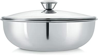 Nirlon Stainless Steel Triply Induction Kadai, 240mm, Silver, Glass lId, Steel - Aluminum - Steel TRI PLY Technology, 2.5lite