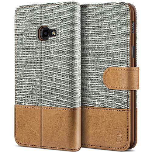 BEZ Handyhülle für Xcover 4 Hülle, Xcover 4S Hülle, Tasche Kompatibel für Samsung Xcover 4 4S, Schutzhüllen aus Klappetui mit Kreditkartenhaltern, Ständer, Magnetverschluss, Grau