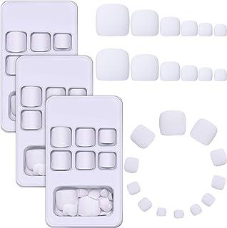 72 Piezas Uñas Postizas de Dedos de Pie Uñas de Pies Falsas Cortas Cuadradas con Pegamento para Mujeres Niñas (Blanco)
