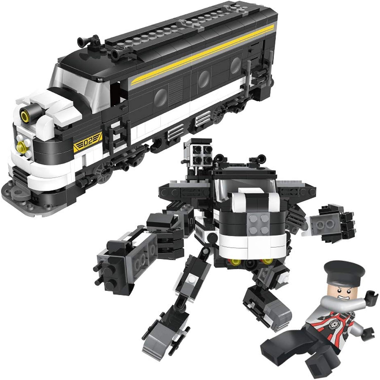 Kinder montiert Zug Serie Spielzeug, Baustein Verformung Roboter Modell, DIY Montage Lernspielzeug 6-10 Jahre alt (Style   E)