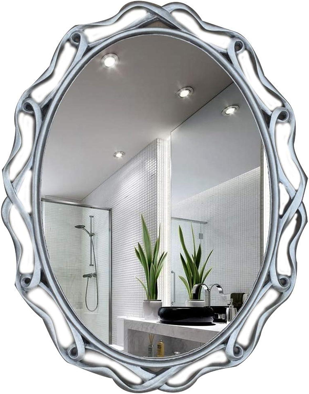 European Style Living Room Decoration Bathroom Mirror Makeup Mirror Oval Hollow Wall Hanging Vanity Mirror (color   C)
