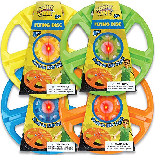 Thin Air Brands Light Up Flying Disc with LED Flashing Effects for Day and Night Games  4 Pack Bundle  Batteries Included  Assorted Colors for Boys and Girls Ages 3