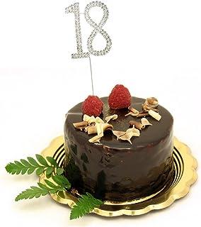 Rosenice Décoration de gâteau en forme de chiffre 18 avec strass pour fête d'anniversaire