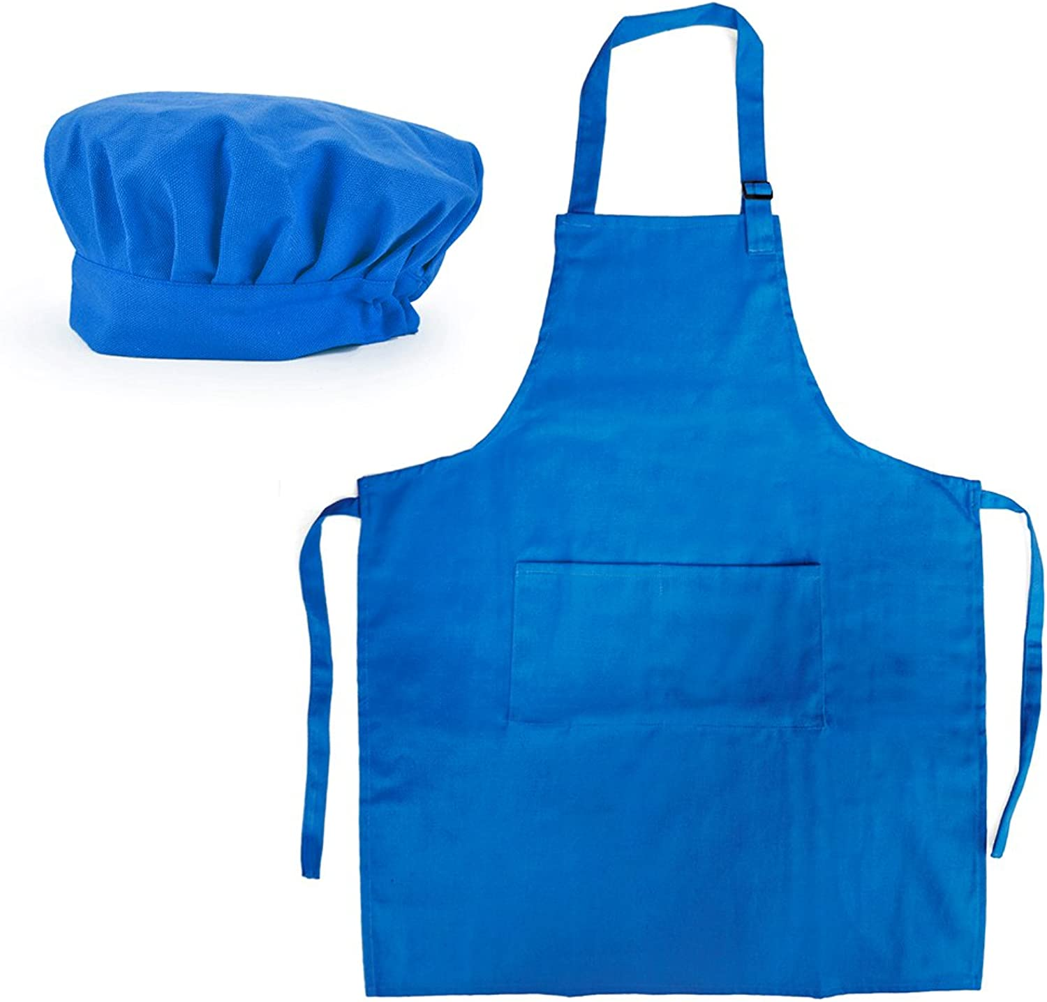 Opromo 6Pack Cotton Canvas Adjustable Apron and Chef Hat SetblueeL