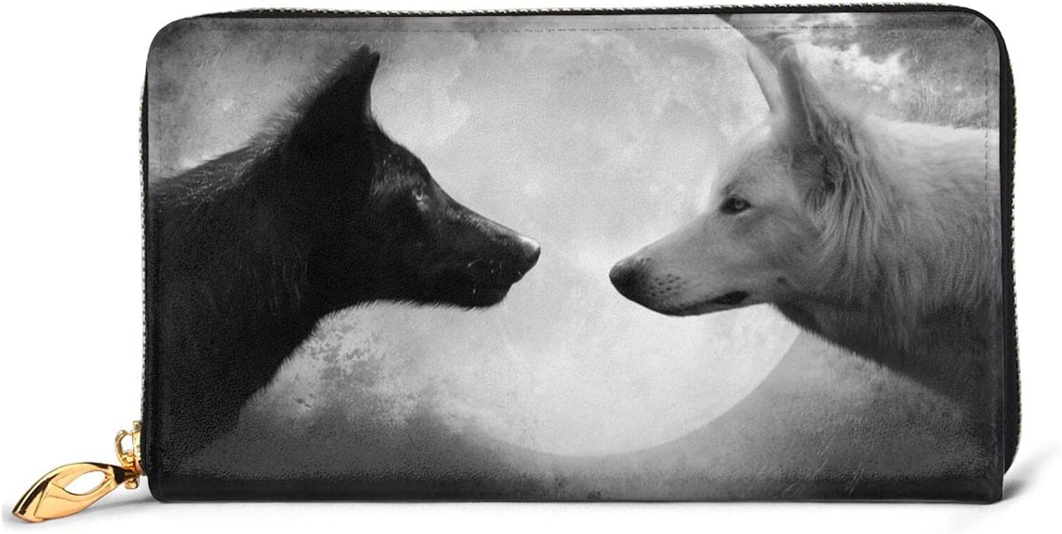 Sales for sale Wolf Full Moon Black And White Women Long Leather Ranking TOP15 Zip Wallet Aro