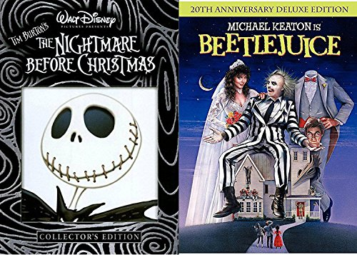 Tim Burton Beetlejuice Movie DVD & The Nightmare Before Christmas Weird Fantasy Action Bundle Fun set IT'S SHOWTIME!
