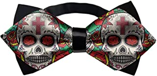 YEAHSPACE Men's Adjustable Sugar Skull Roses Neck Bowtie Bow Ties Gift