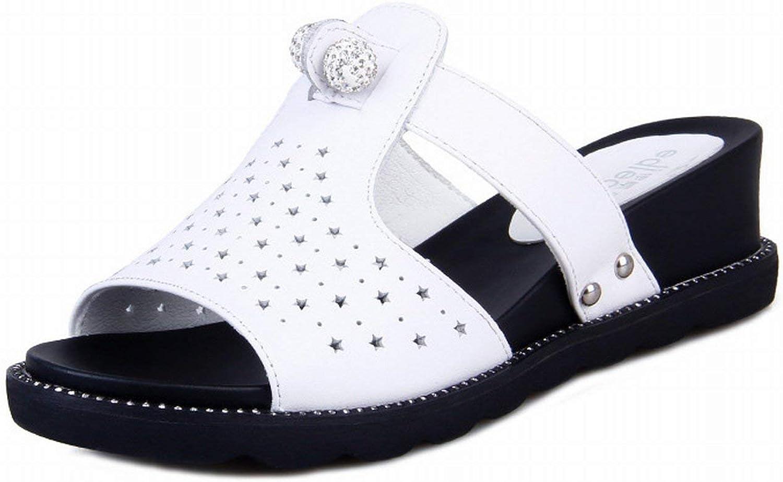 Oudan Die Sandalen weibliche atmungsaktiv tragen die Schlittschuhe zufllige bequem und Ohrhnger mit Die kalte Schlittschuh (Farbe   Wei, Gre   50)