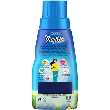 Comfort After Wash Morning Fresh Fabric Conditioner (Fabric Softener) - For Softness, Shine And Long Lasting Freshness, 220 ml