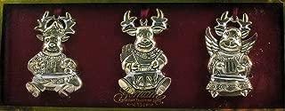 Gorham Silverplated Reindeer Ornaments - Set of 3