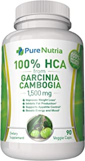 Garcinia Cambogia 1500mg HCA from Garcinia Cambogia Extract. Extra Strength 100% HCA - Ultra Effective for Appetite Contro...