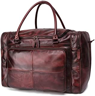 Soft Cowhide Leather Durable Tote Handbag Travel Duffel Travel, Leisure, Business Trip Bag (Color : Coffee, Size : S)